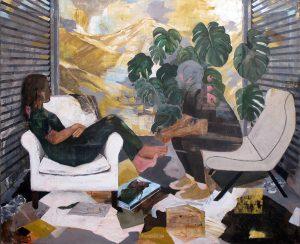 Aryan Ozmaei, _Uomo e donna con montagne gialle e persiane_ 2017, 170X140 cm olio su tela